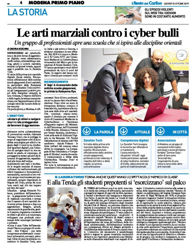 Le Arti Marziali contro i Cyber Bulli il PDF dell'articolo del Resto del Carlino del 10 Ottobre